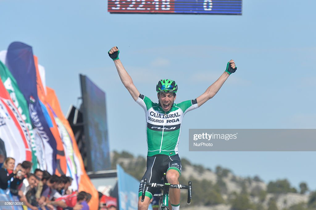 aime Roson Garcia, a Spanish rider from Caja Rural-Seguros Rga crosses the finish line on the first position ahead of Polish Przemyslaw Niemiec from Lampre-Merida team, during the six stage of the 52nd Presidential Tour of Turkey 2016, the 117 km from Kumluca to Elmali. On Friday, 29 April 2016, in Elmali, Turkey.
