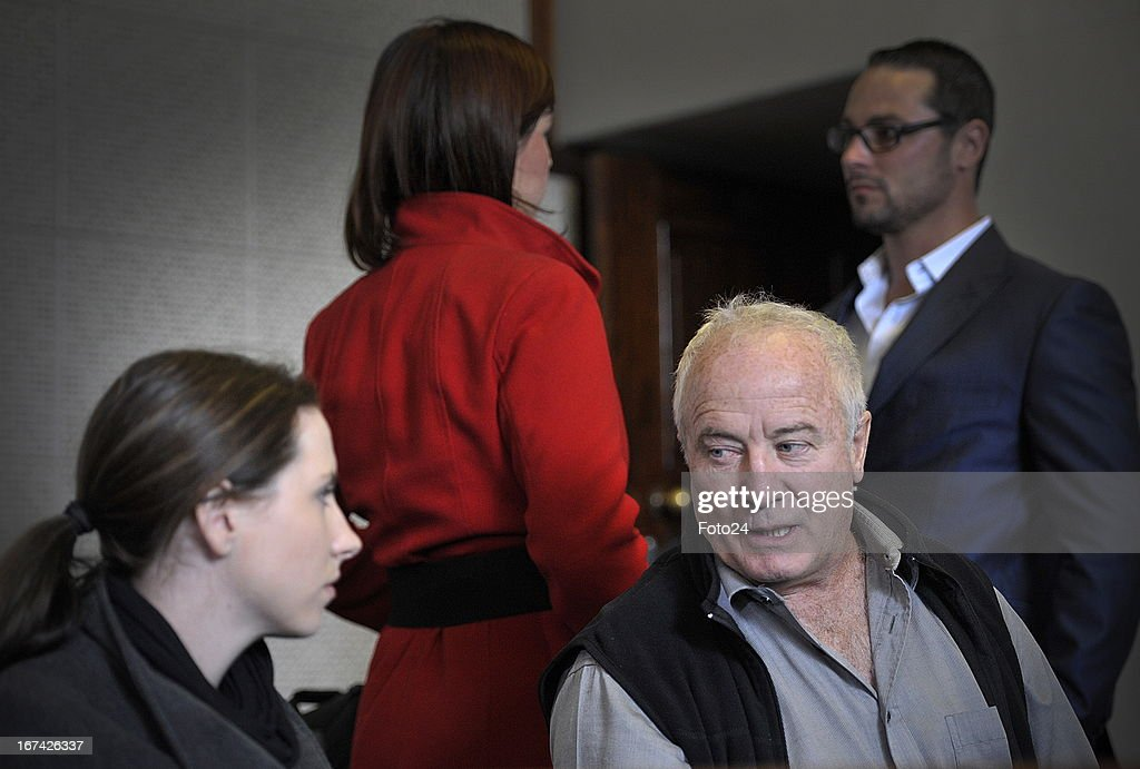 Aimee and Henke Pistorius Carl Pistorius's sister and father at the Vanderbijlpark Magistrate's Court on April 25 in Vanderbijlpark South Africa...