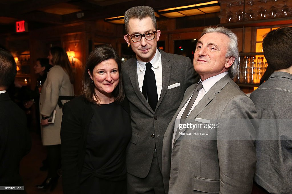 Aimee Bell, GQ Deputy Editor/author Michael Hainey (R) and Julian Niccolini attend the GQ 'After Visiting Friends' book party on February 21, 2013 in New York City.