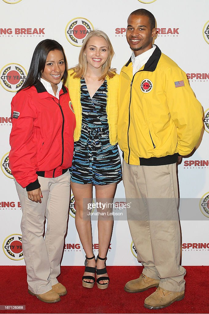 Aimee Garcia (C) and City Year Los Angeles AmeriCorps members attend the City Year Los Angeles' Spring Break: Destination Education at Sony Pictures Studios on April 20, 2013 in Culver City, California.