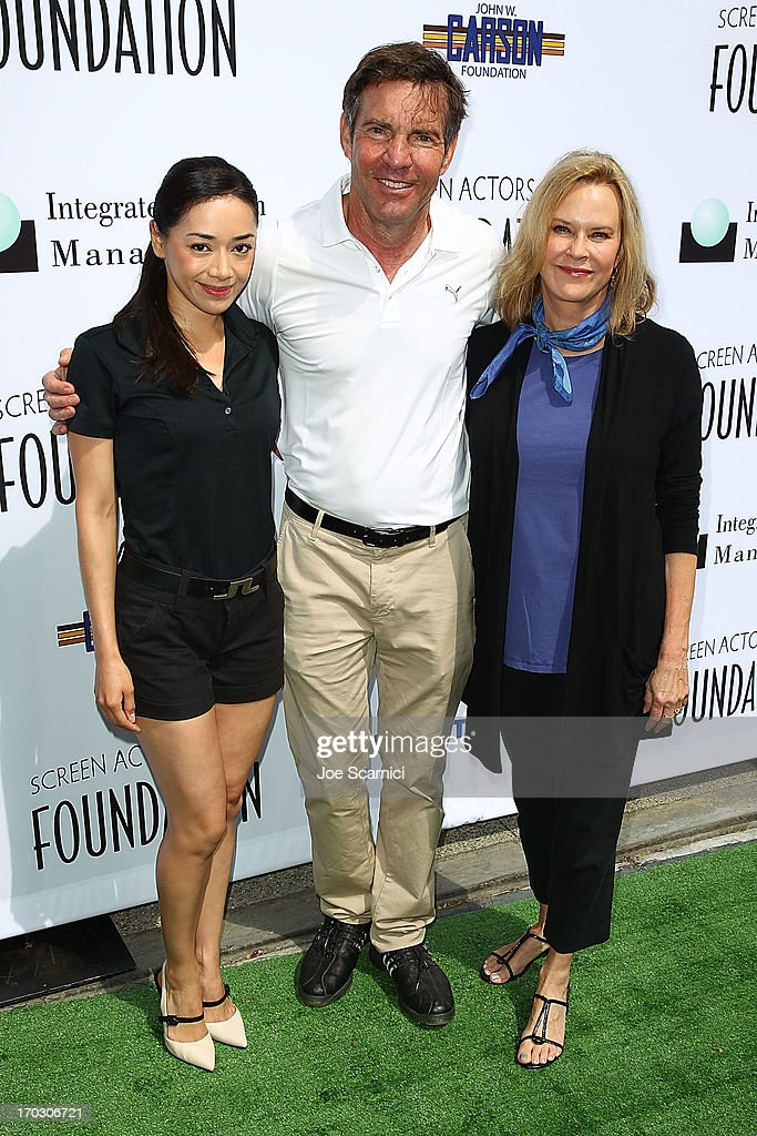 Aimee Garcia, Dennis Quaid and JoBeth Williams arrive to the Screen Actors Guild Foundation's 4th annual Los Angeles golf classic at Lakeside Golf Club on June 10, 2013 in Burbank, California.