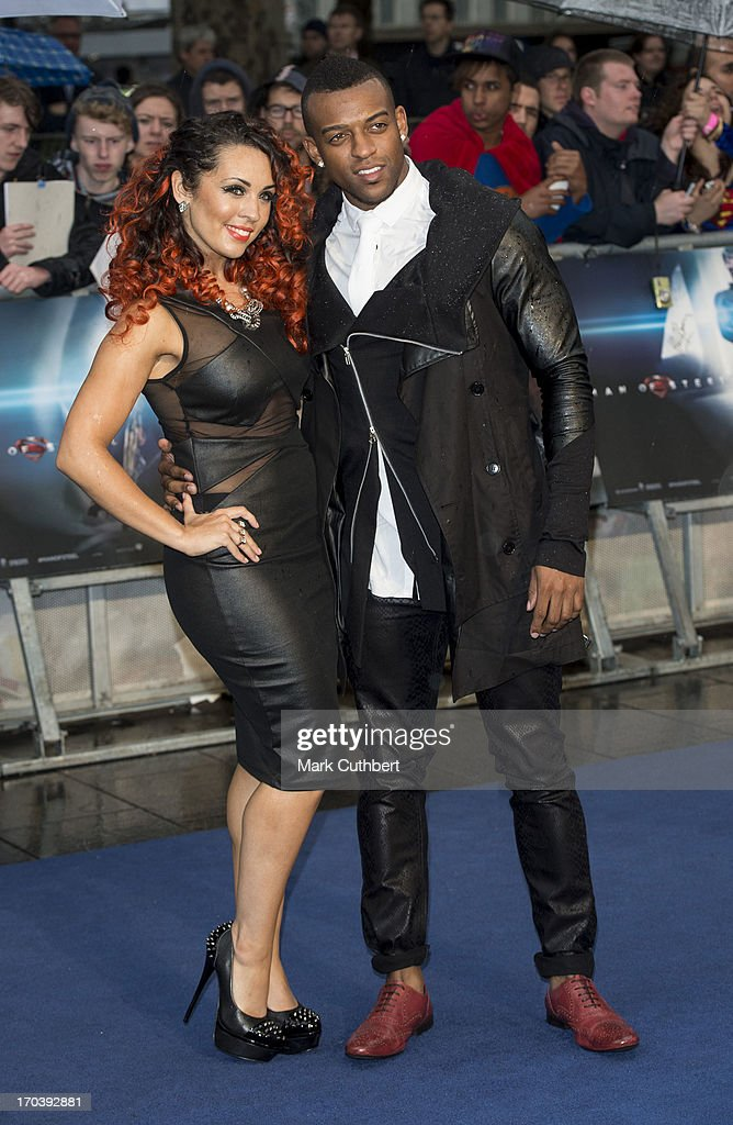 Aimee Jade and Oritse Williams attend the UK Premiere of 'Man of Steel' at Odeon Leicester Square on June 12, 2013 in London, England.