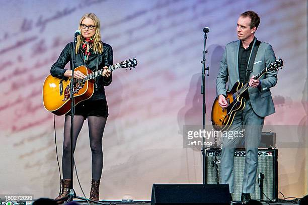 Aimee Mann and Ted Leo perform at the 2013 Liberty Medal ceremony honoring Former Secretary of State Hillary Rodham Clinton at the National...