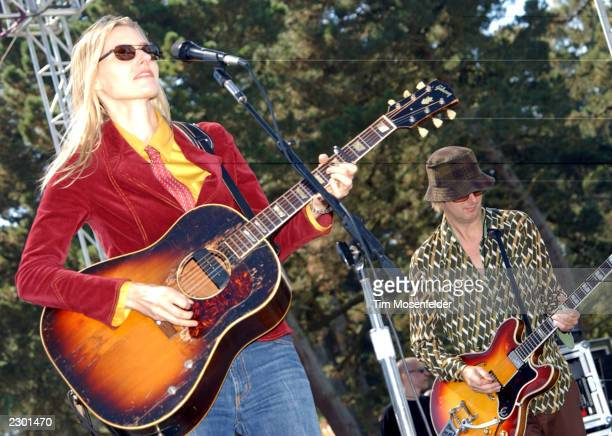 Aimee Mann performing at the Alice 973's Now and Zen Festival at Sharon Meadow in Golden Gate Park San Francisco CA on September 22nd 2002 Image By...