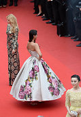 Aimee Mullins and actresses Sonam Kapoor and Fan Bingbing attends the 'Jeune Jolie' premiere during The 66th Annual Cannes Film Festival at the...
