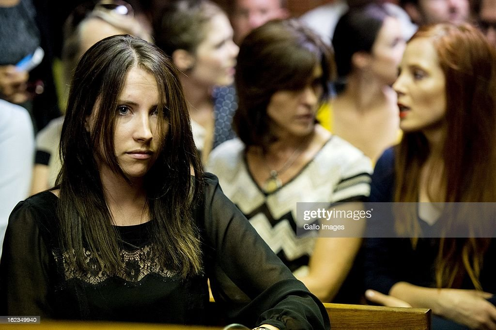 Aimee Pistorius at the Pretoria Magistrates court on February 22, 2013, in Pretoria, South Africa. Oscar Pistorius is accused of the murder of Reeva Steenkamp on February 14, 2013. This marks day 4 of his bail hearing.