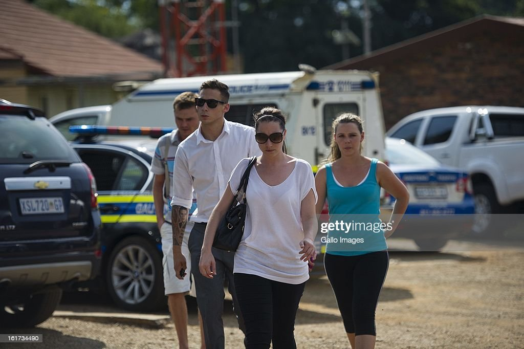 Aimee Pistorius leaves Boschkop Police Station on February 14, 2013 in Pretoria, South Africa. Oscar Pistorius was taken to hospital for a blood test, prior to his appearance at court. He was arrested following a shooting at his residence on the morning of February 14, 2013.