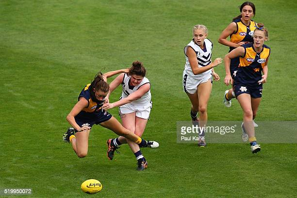 Aimee Schmidt of the Eagles gets bumped off the ball by Lara Filacamo of the Dockers during the Women's AFL Exhibition Match between the West Coast...