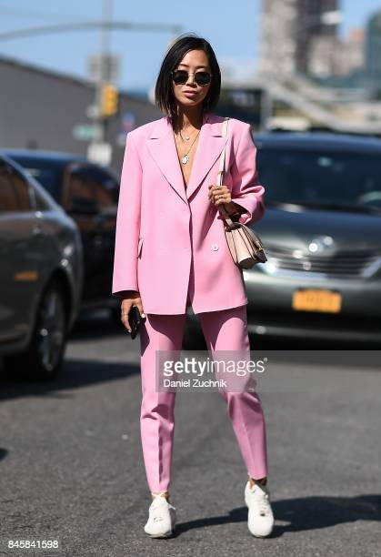 Aimee Song is seen outside the 31 Phillip Lim show show during New York Fashion Week Women's S/S 2018 on September 11 2017 in New York City
