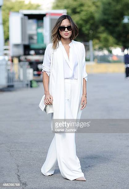 Aimee Song is seen outside the 31 Phillip Lim show wearing a Phillip Lim outfit during New York Fashion Week 2016 on September 14 2015 in New York...