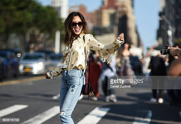 Aimee Song is seen outside the Coach show during New York Fashion Week Spring 2017 on September 13 2016 in New York City