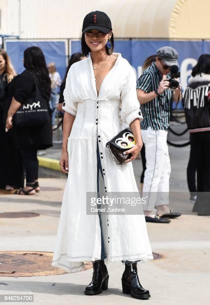 Aimee Song is seen outside the Coach show during New York Fashion Week Women's S/S 2018 on September 12 2017 in New York City