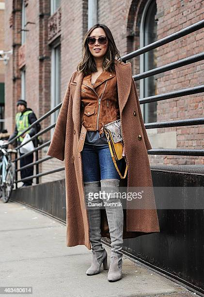 Aimee Song is seen outside the Tibi show on February 14 2015 in New York City