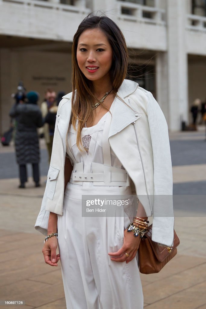 Aimee Song is seen wearing BCBG jacket and Yves Saint Laurent shoes at Streets of Manhattan on February 7, 2013 in New York City.