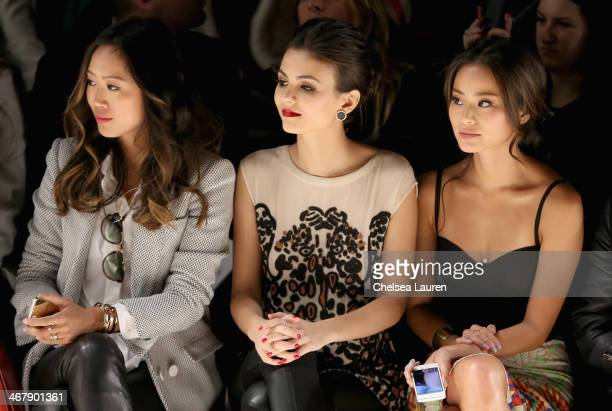 Aimee Song Victoria Justice and Jamie Chung attend the Mara Hoffman fashion show during MercedesBenz Fashion Week Fall 2014 at The Salon at Lincoln...