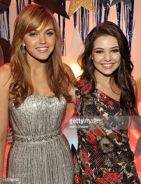 Aimee Teegarden and Danielle Campbell attend the 'Prom' world premiere after party at Hollywood High School on April 21 2011 in Hollywood California