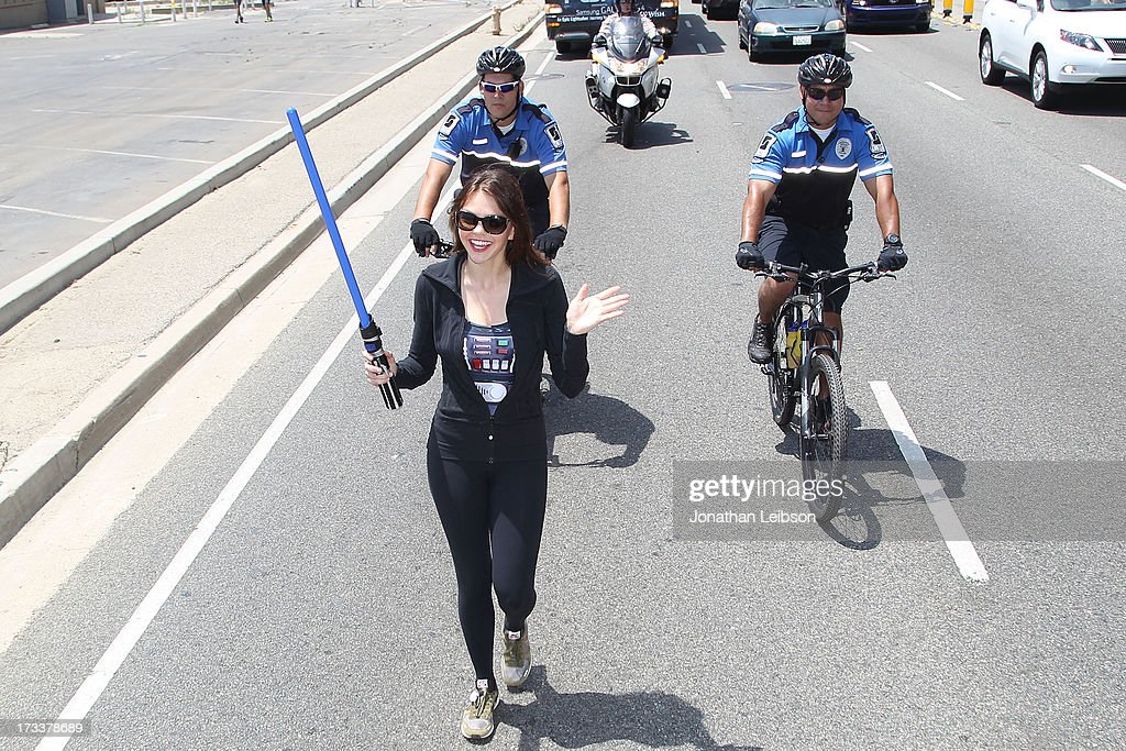 Aimee Teegarden attends the Course Of The Force 2013 An Epic Lightsaber Relay Benefiting MakeAWish Foundation Day 2 at on July 12 2013 in Pacific...
