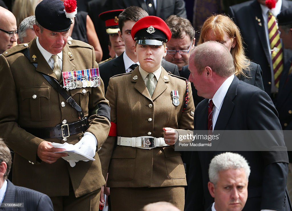 Aimee West fiancee of Fusilier Lee Rigby attends his funeral at Bury Parish Church on July 12 2013 in Bury Greater Manchester England The Royal...