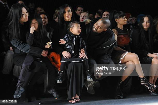Aimie Wang Alia Wang Kim Kardashian North West Kanye West Nicki Minaj and Zoe Kravitz attend the Alexander Wang Fashion Show during MercedesBenz...