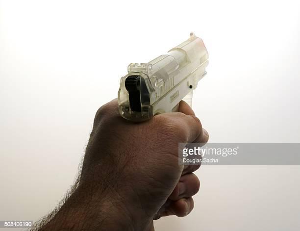 Aiming apistol down the range