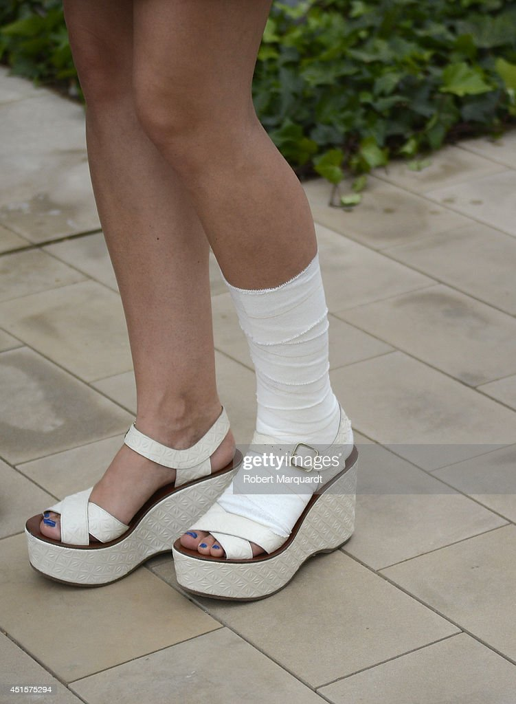 Aina Clotet (shoe detail) is seen during the '080 Barcelona Fashion Week' on July 1, 2014 in Barcelona, Spain.