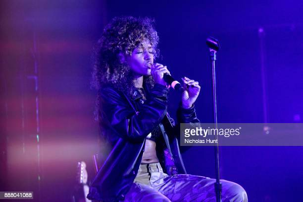 Aine Zion performs on stage at BACARDI Swizz Beatz and The Dean Collection bring NO COMMISSION back to Miami to celebrate 'Island Might' at Soho...