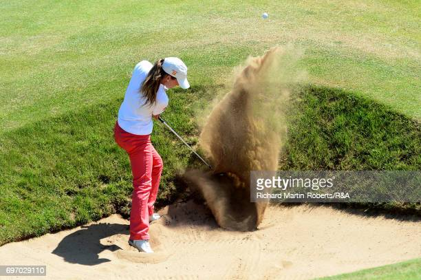 Ainhoa Olarra of Spain hits from a bunker during day three of the Ladies British Open Amateur Championship at Pyle and Kenfig Golf Club on June 17...