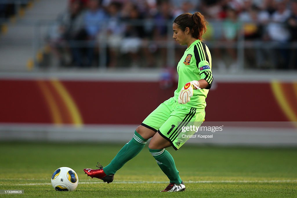 Ainhoa Tirapu of Spain shoots the ball during the UEFA Women's EURO 2013 Group C match between England and Spain at Linkoping Arena on July 12, 2013 in Linkoping, Sweden.