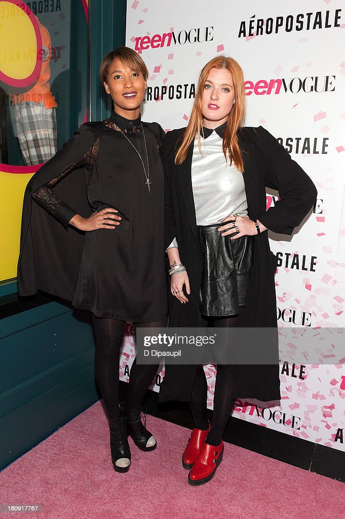 Aino Jawo (L) and Caroline Hjelt attend the Teen Vogue 10th Anniversary and Chloe Grace Moretz Sweet 16 Celebration at Aeropostale Times Square on February 7, 2013 in New York City.