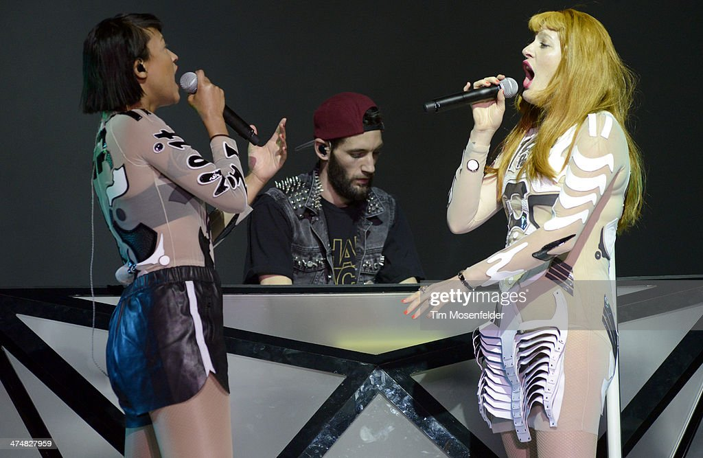 Aino Jawo and Caroline Hjelt of Icona Pop perform as part of the 'Bangerz Tour' at ORACLE Arena on February 24 2014 in Oakland California