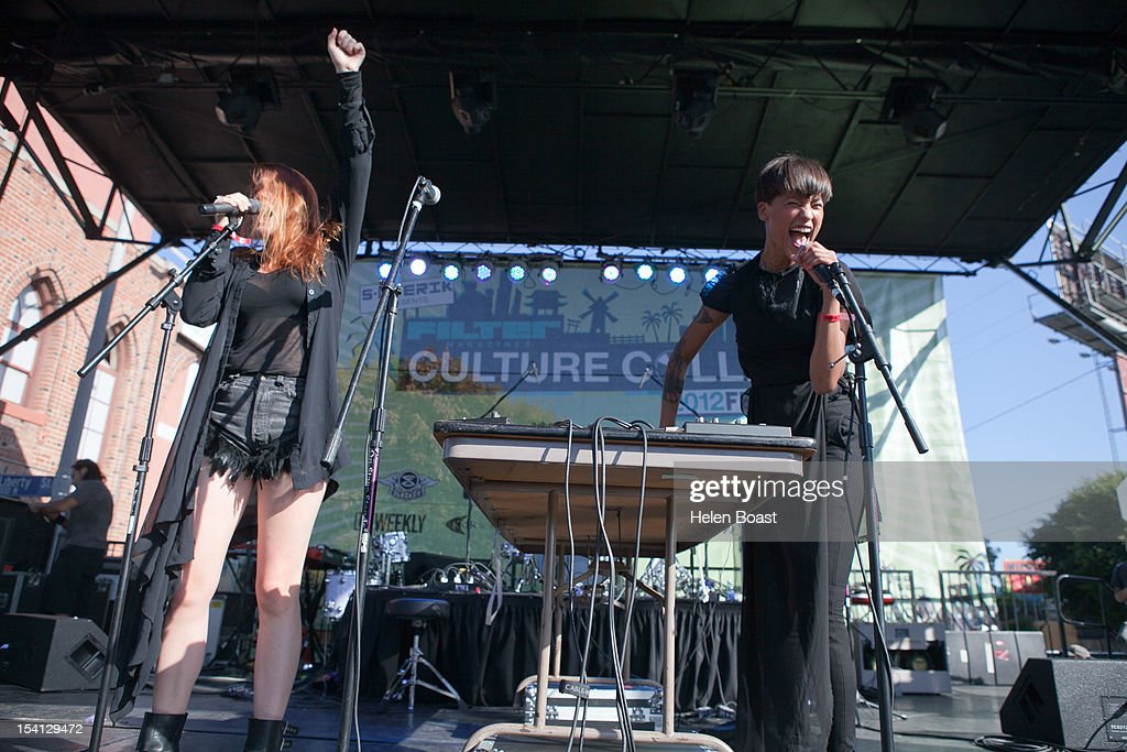 Aino Jawo and Caroline Hjelt of Icona Pop perform on stage at Taix during Filter Magazine's Culture Collide music festival on October 7, 2012 in Los Angeles, California.