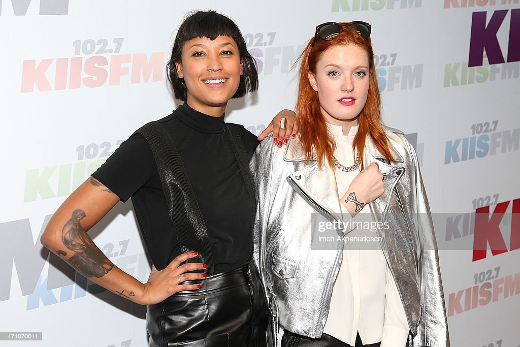 Aino Jawo and Caroline Hjelt of Icona Pop pose following a private performance at Clear Channel Media and Entertainment on February 21 2014 in...