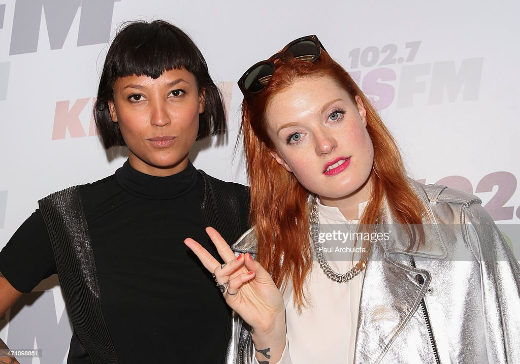 Aino Jawo and Caroline Hjelt of the Girl Group 'Icona Pop' pose for pictures at the KIIS FM studios at Clear Channel Media and Entertainment on...