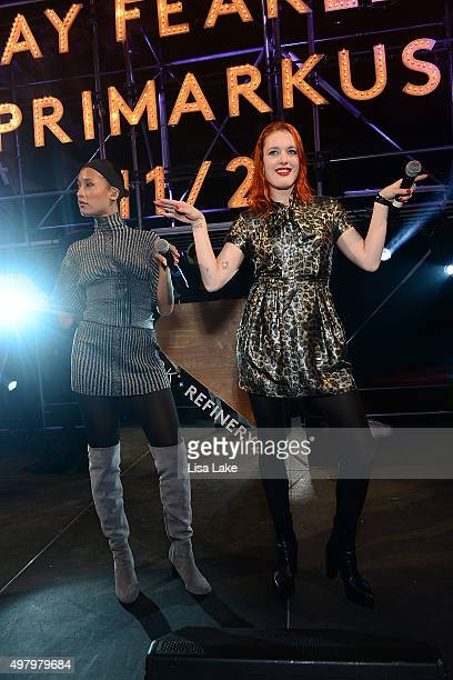 Aino Jawo and Caroline Hjelt singers of Icona Pop perform at The Keke Palmer Refinery29 Host Club Primania Event at Skybox Event Center on November...