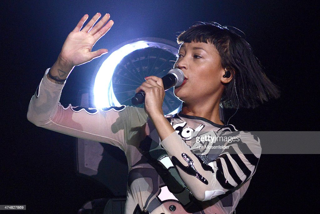 Aino Jawo of Icona Pop performs as part of the 'Bangerz Tour' at ORACLE Arena on February 24 2014 in Oakland California