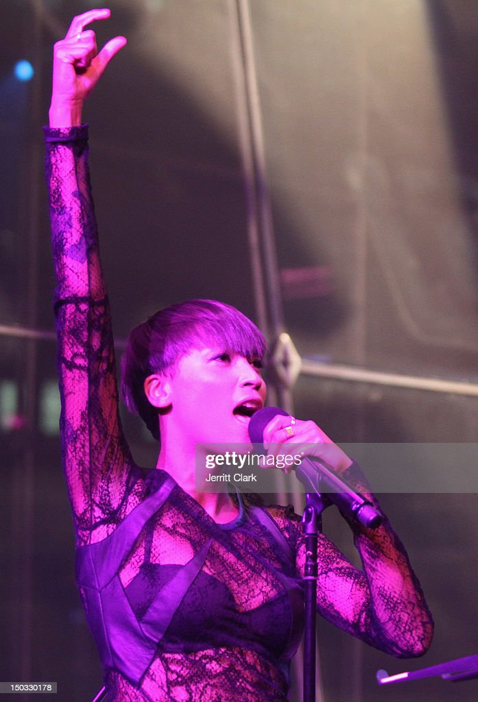 Aino Jawo of Icona Pop performs at the Samsung Galaxy Note 10.1 launch party at Frederick P. Rose Hall, Jazz at Lincoln Center on August 15, 2012 in New York City.