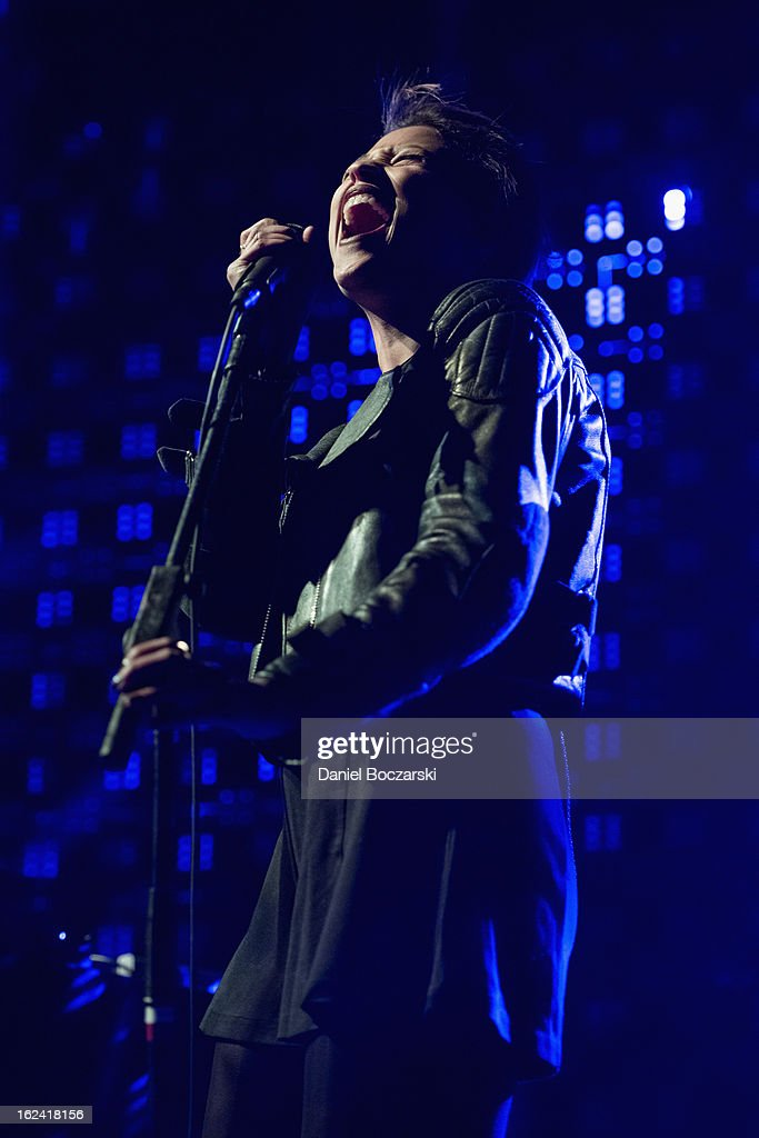 Aino Jawo of Icona Pop performs on stage at UIC Pavilion on February 22, 2013 in Chicago, Illinois.
