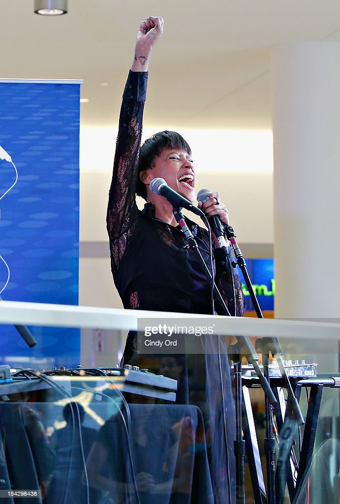 Aino Jawo of Icona Pop pose performs at JetBlue's Live From T5 Concert Series - CMJ Music Access Live at John F. Kennedy International Airport on October 17, 2012 in New York City.