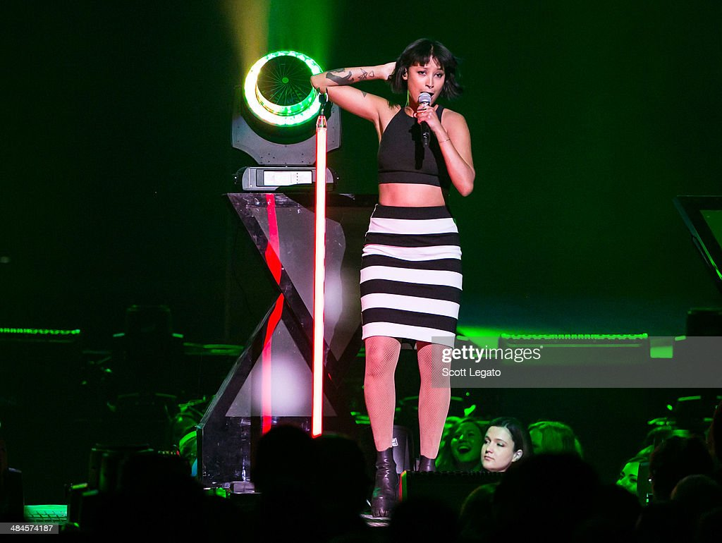 Aino Jawo of Icona PopIcona Pop performs at The Palace of Auburn Hills on April 12, 2014 in Auburn Hills, Michigan.