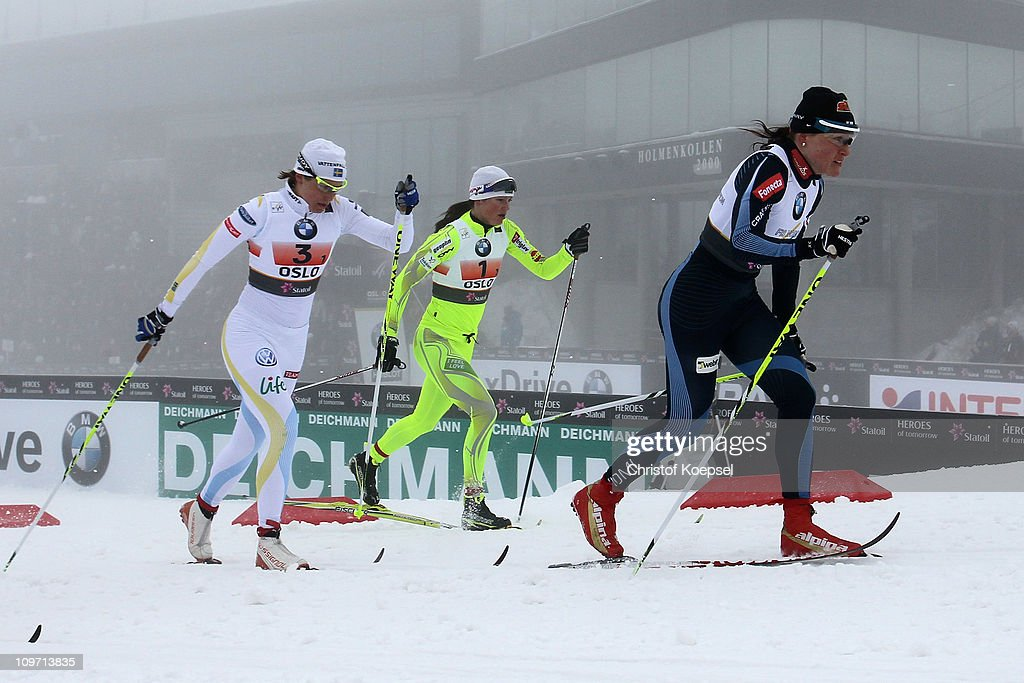 Aino Kaisa Saarinen of Finland, Katja Visnar of Slovenia and Charlotte Kalla of Sweden compete in the Ladies Cross Country Team Sprint race during the FIS Nordic World Ski Championships at Holmenkollen on March 2, 2011 in Oslo, Norway.