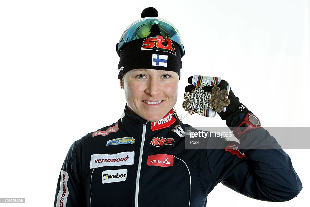 Aino Kaisa Saarinen of Finland poses with the bronze medal won in the Ladies Cross Country 4x5km Relay race during the FIS Nordic World Ski Championships at Holmenkollen on March 3, 2011 in Oslo, Norway.