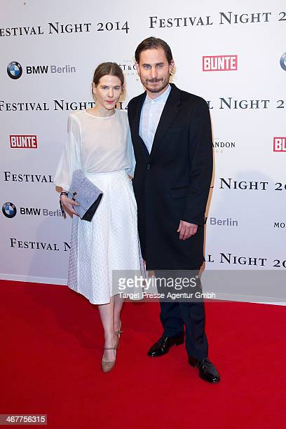 Aino Laberenz and Clemes Schick attend the Bunte BMW Festival Night 2014 at Humboldt Carree on February 7 2014 in Berlin Germany