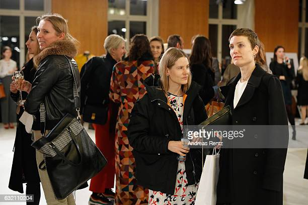 Aino Laberenz and Saskia Diez attend the 'Icons in Fashion' vernissage during the Der Berliner Mode Salon A/W 2017 at Kronprinzenpalais on January 19...