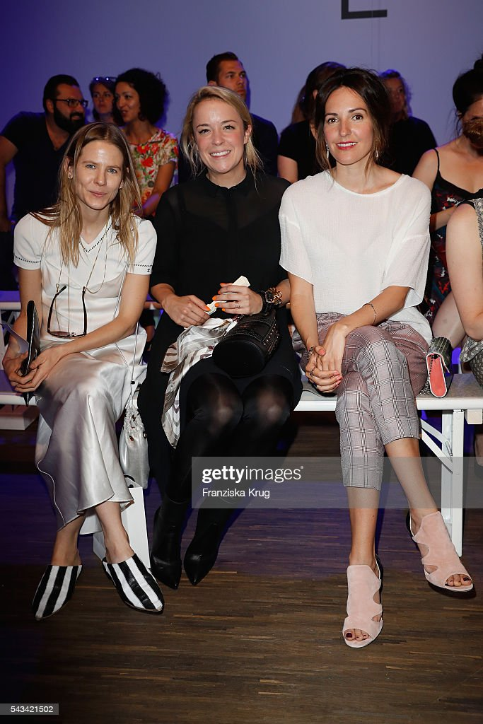 Aino Laberenz, Marina Hoermanseder and <a gi-track='captionPersonalityLinkClicked' href=/galleries/search?phrase=Johanna+Klum&family=editorial&specificpeople=636185 ng-click='$event.stopPropagation()'>Johanna Klum</a> attend the Dawid Tomaszewski show during the Mercedes-Benz Fashion Week Berlin Spring/Summer 2017 at Stage at me Collectors Room on June 28, 2016 in Berlin, Germany.