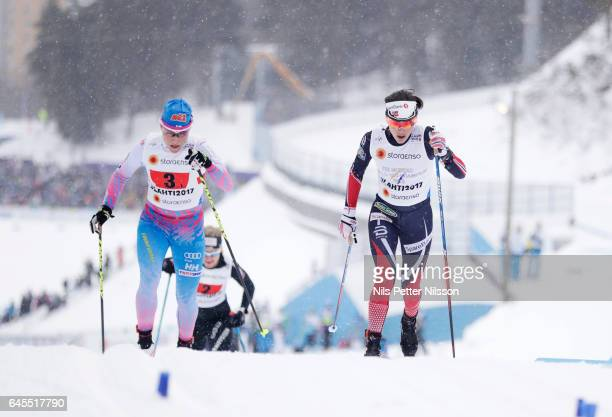 AinoKaisa Saarinen of Finland and Heidi Weng of Norway during the cross country team sprint during the FIS Nordic World Ski Championships on February...