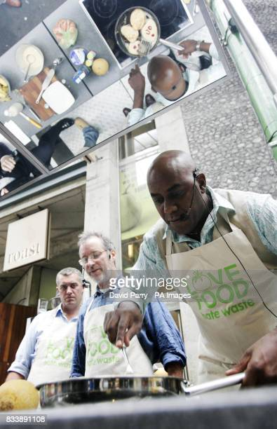 Ainsley Harriott cooking up some recipies with fellow chefs Barney Houghton and Paul Merritt at Borough Market to promote the WRAP campaign 'Love...
