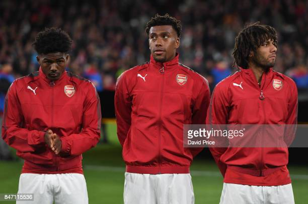 Ainsley MaitlandNiles Alex Iwobi and Mohamed Elneny of Arsenal before the UEFA Europa League group H match between Arsenal FC and 1 FC Koeln at...