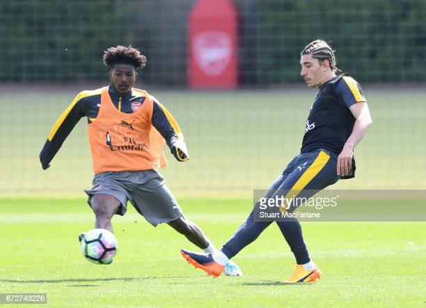 Ainsley MaitlandNiles and Hector Bellerin of Arsenal during a training session at London Colney on April 25 2017 in St Albans England
