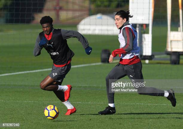 Ainsley MaitlandNiles and Hector Bellerin of Arsenal during a training session at London Colney on November 17 2017 in St Albans England
