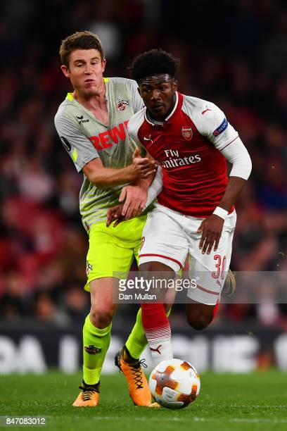 Ainsley MaitlandNiles of Arsenal and Dominique Heintz of FC Koeln during the UEFA Europa League group H match between Arsenal FC and 1 FC Koeln at...